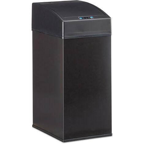 Poubelle capteur, couvercle automatique, seau intérieur avec poignée, hygiénique, acier, HLP 35 x 15 x 20 cm, noir