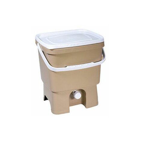 Poubelle composteur organique - 16 L - Bokashi - Beige - Livraison gratuite