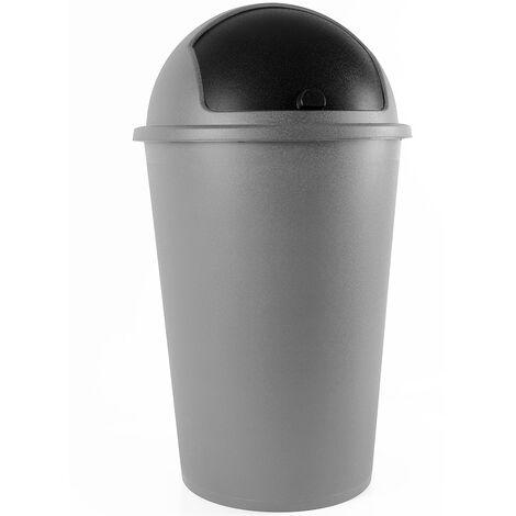 Poubelle corbeille 50 litres - couvercle basculant - 68cm x 40cm - Maison cuisine déchets Argent