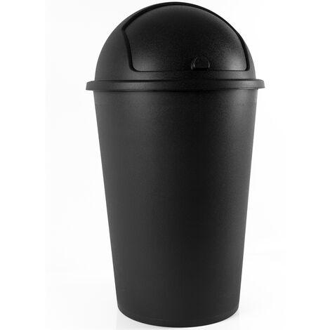 Poubelle corbeille 50 litres - couvercle basculant - 68cm x 40cm - Maison cuisine déchets grau - grey - gris (de)