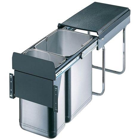 Poubelle coulissante 2 seaux - Amortisseur : Sans - Contenance : 30 L - Décor : Gris - Hauteur : 385 mm - Largeur : 254 mm - Matériau : Inox / Métal / PVC - Nombre de seaux : 2 - Pour caisson de larg