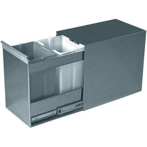 Poubelle coulissante - 20 l - Amortisseur : Sans - Contenance : 20 L - Décor : Inox - Hauteur : 370 mm - Largeur : 260 mm - Matériau : Inox / PVC - Nombre de seaux : 2 - Pour caisson de largeur : 300 - Hauteur : 370 mm