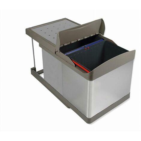 Poubelle coulissante automatique 2 x 16 L EMUCA - Acier Inox