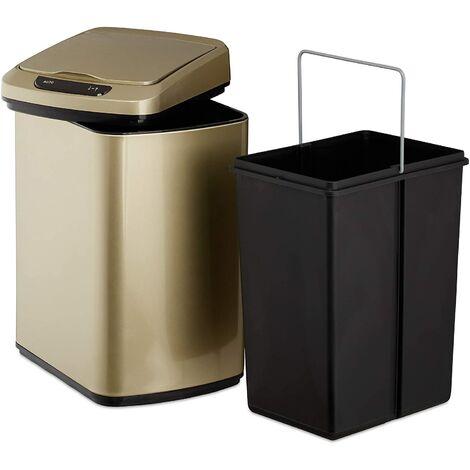 Poubelle couvercle automatique avec récipient sceau 12 litres doré - Or