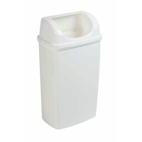 Poubelle couvercle dissimulant | polypropylène | Blanc | 50 litres | 380x270x740 | Basica | 1 pièce | medial - Blanc