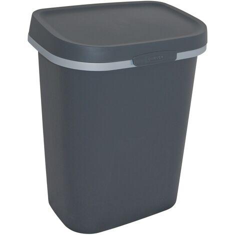 Poubelle Curver Mistral Flat - 10L PVC recyclé Anthracite
