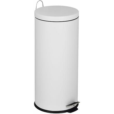 Poubelle de cuisine à pédale basique chic cylindrique 30L URBAN Blanc mat en acier inox avec seau