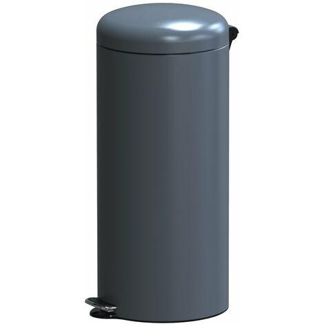 Poubelle de cuisine à pédale basique chic cylindrique 30L URBAN Gris mat en acier inox avec seau
