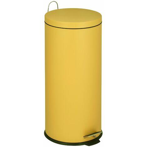 Poubelle de cuisine à pédale basique chic cylindrique 30L URBAN Jaune mat en acier inox avec seau