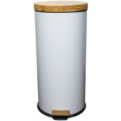 Poubelle de cuisine à pédale FOREST blanc en bois et acier 30L