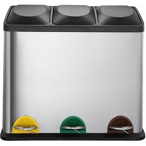 Poubelle de cuisine à pédale tri sélectif 45L (3x15L) ZOE en acier Inox avec seau