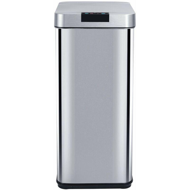 Poubelle de cuisine automatique design 50L PARKSIDE en acier INOX avec cerclage - KITCHEN MOVE