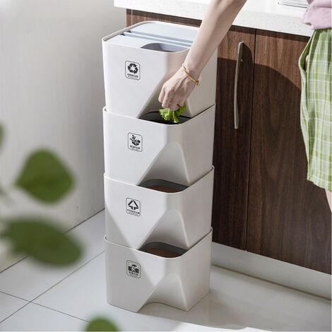 Poubelle de cuisine empilée tri poubelle de recyclage ménage pour seau de rangement de salle de bain 24 * 24 * 29.5 cm
