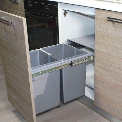 Poubelle de cuisine encastrable RYVEN gris clair - 2x20 litres