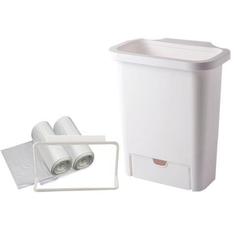 Poubelle de cuisine suspendue, tenture de menage grand blanc givre(tiroir avant) ¡¬ sac poubelle¡¬ etagere