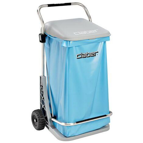 Poubelle de jardin CLABER Ouverture à pédale Modèle Confort INOX sur roues Haute qualité + SAC poubelle exterieur de jardin