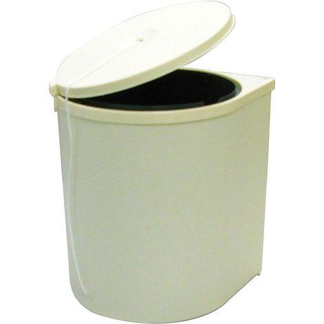 Poubelle de porte pivotante beige à cordon - 13 l - Nombre de seaux : 1 - Contenance : 13 L - Pour caisson de largeur : 400 mm - Décor : Beige - Largeur : 280 mm - Profondeur : 280 mm - Hauteur : 340
