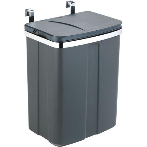 Poubelle de porte, poubelle à suspendre, 12L, gris
