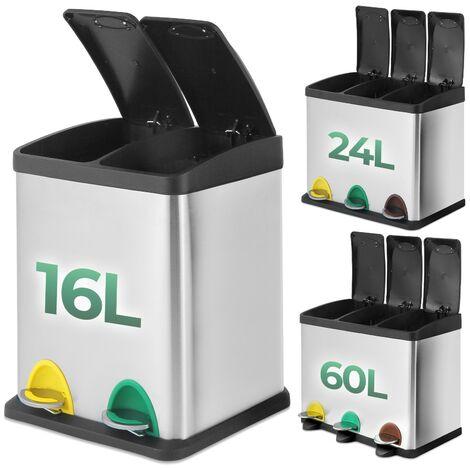 Poubelle de Recyclage 16L 24L 60L Poubelle à Pédales Colorées en Acier Inoxydable Sélective Seaux Intérieurs Amovibles
