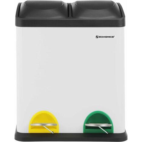 Poubelle de Recyclage 30L, Poubelle de tri, avec pétales, en Acier, 2 Compartiments, 2 x 15L seaux intérieurs Amovibles