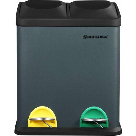 Poubelle de Recyclage 30L, Poubelle de tri, avec pétales, en Acier, 2 Compartiments, 2 x 15L seaux intérieurs Amovibles, pétales colorées, pour Cuisine, Salon
