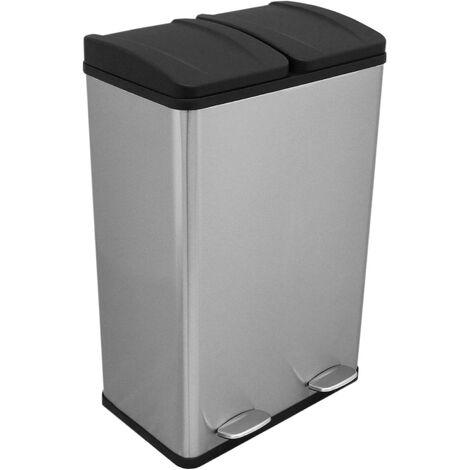 Poubelle de Recyclage 60L Double Acier Inoxydable - Argent