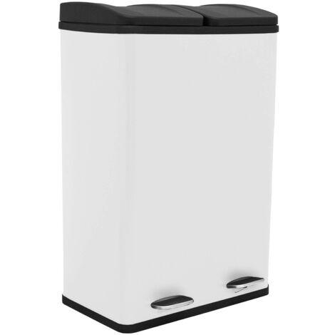 Poubelle de Recyclage 60L Double Blanche - Blanc