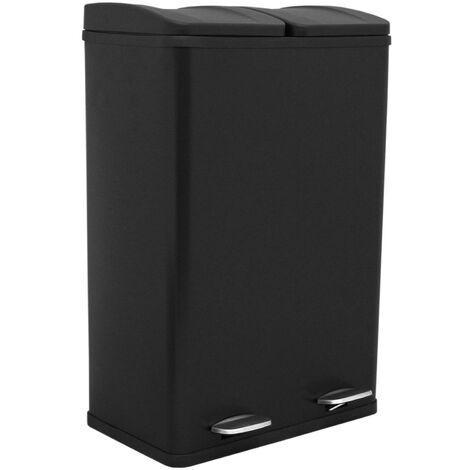 Poubelle de Recyclage 60L Double Noire - Noir