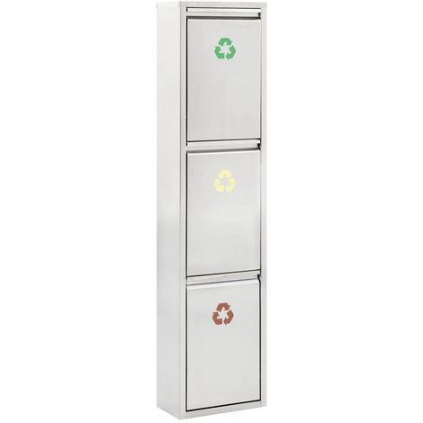Poubelle De Recyclage Argente Acier Inoxydable 3 X 8 L