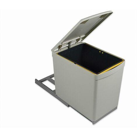 Poubelle de recyclage Emuca à fixation inférieure et extraction manuelle avec 1 conteneur de 16 litres et couvercle automatique