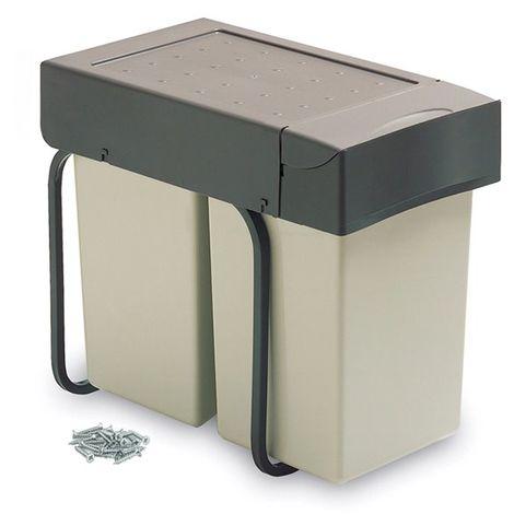 Poubelle de recyclage Emuca à fixation inférieure et extraction manuelle avec 2 conteneurs de 14 litros et couvercle automatique