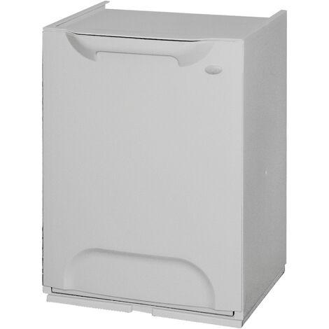 Poubelle de recyclage en polypropylène, de couleur grise, avec réservoir intérieur de 20 litres.