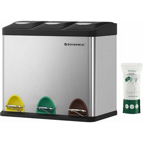Poubelle de recyclage, Poubelle à pédales 3-en-1, Poubelle 24 litres en métal, pour cuisine, durable, facile à nettoyer
