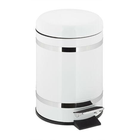 Poubelle de salle de bain 5 l, rabattage automatique, seau intérieur inclus, HxLxP 30 x 20 x 26 cm, blanc