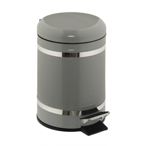 Poubelle de salle de bain 5 l, rabattage automatique, seau intérieur inclus, HxLxP 30 x 20 x 26 cm, gris clair