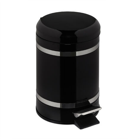 Poubelle de salle de bain 5 l, rabattage automatique, seau intérieur inclus, HxLxP 30 x 20 x 26 cm, noir