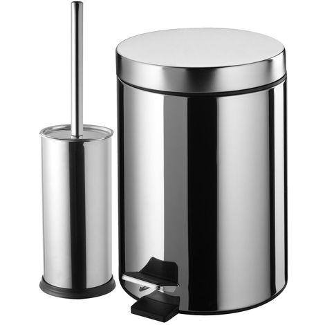 Poubelle de salle de bain + brosse wc capacité 3 litres 170 x 215 x 255 mm / Couleur: Chromé / Référence: 87800CH