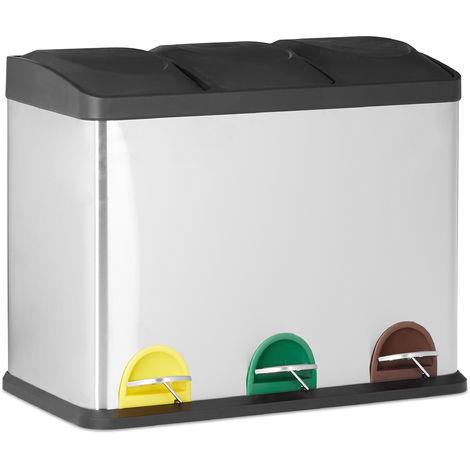 Poubelle de tri 3 bacs poubelle de recyclage déchets 3 bacs seau intérieur 3x18 L inox HxlxP: 56x60x32, argent