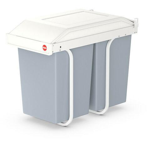 Poubelle de tri encastrable universelle avec deux seaux Multi-box Hailo - Contenance 2 x 15 l - Crème - Corps : crème Couvercle : blanc Seaux : gris