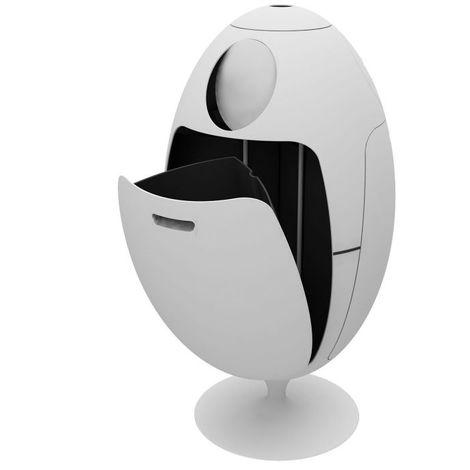 Poubelle de tri Ovetto 84x45 SOLDI DESIGN - Blanc - Intérieur - Rotation à 360°