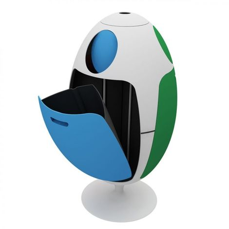 Poubelle de tri Ovetto tricolore 84x45 SOLDI DESIGN - Bleu-Vert - Intérieur - Rotation à 360° - Bleu-Vert