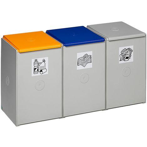 Poubelle de tri - poste 3 poubelles - pour 60 l, largeur 1060 mm