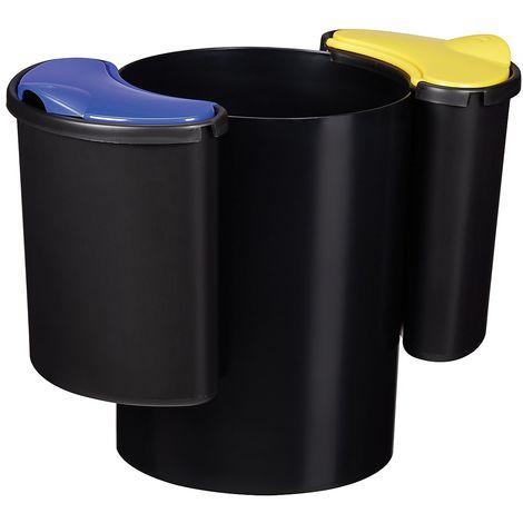 Poubelle de tri sélectif modulaire - 25 l - Noir - MODULTRI | Rossignol - bleu | noir jaune