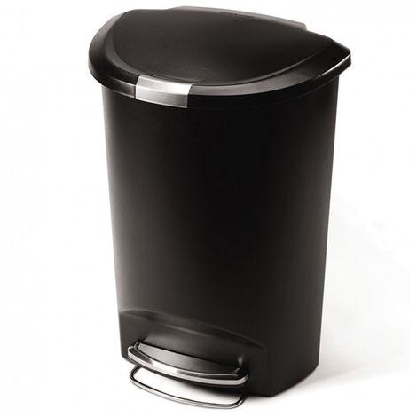 poubelle demi-lune à pédale 50l noir - cw1355 - simplehuman