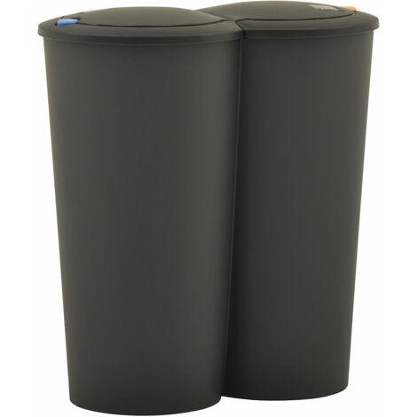 Poubelle double à ordures 50 L Noir