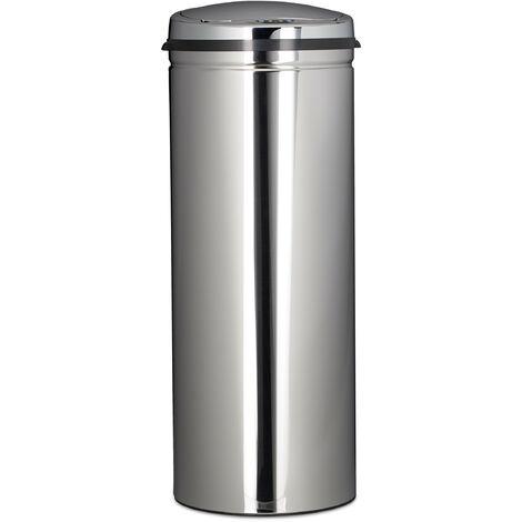 Poubelle en inox 50 litres bac à ordures en métal 80 cm de hauteur 30 cm de diamètre couvercle rond, argenté