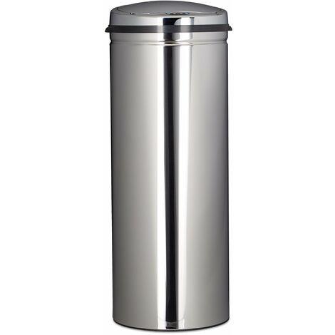 Poubelle en inox 50 litres bac à ordures en métal 80 cm de hauteur 30 cm de diamètre couvercle rond, argenté - Argenté
