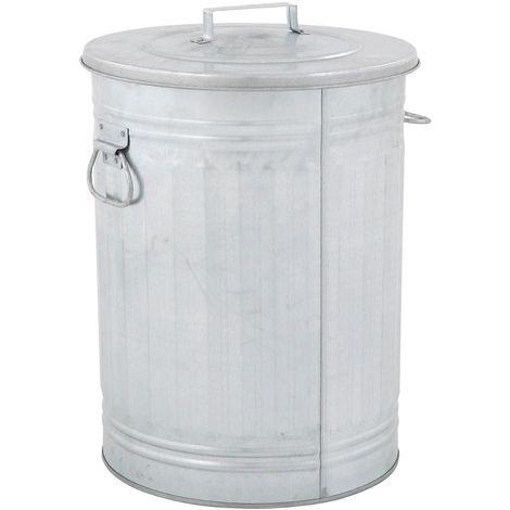 Poubelle en tôle d'acier, rond, avec couvercle, galvanisé - Coloris poubelle: galvanisé