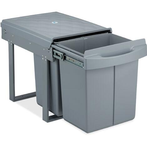 poubelle encastrable coulissante, 2 bacs, système de trie pour le sous-évier, 2x 20 l, HLP 41x34x52 cm, gris