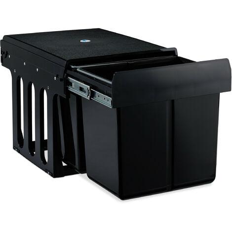 poubelle encastrable coulissante, 2 bacs, système de trie pour le sous-évier, 2x15l, 35 x 33,5 x 47,5 cm, noir
